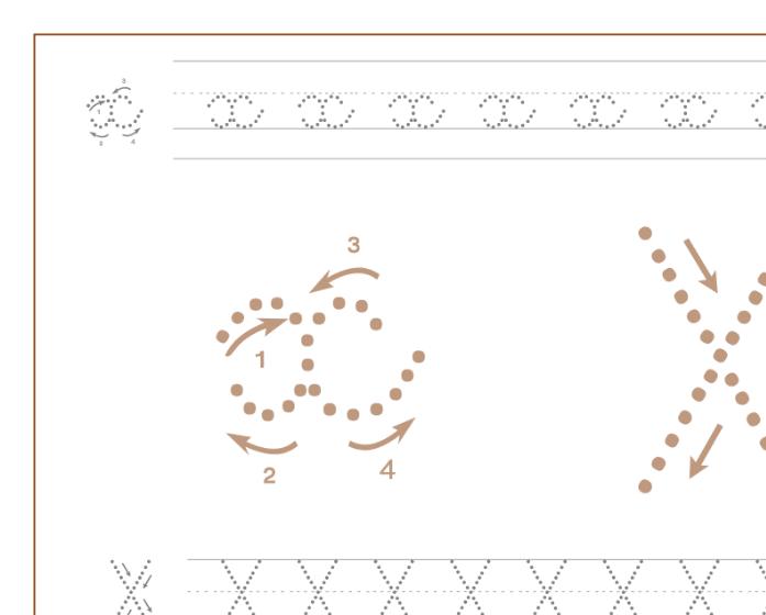 Ficha de caligrafía de la letra X, recursos educativos