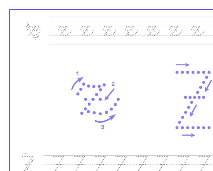 Ficha de caligrafía de la letra Z, recursos educativos