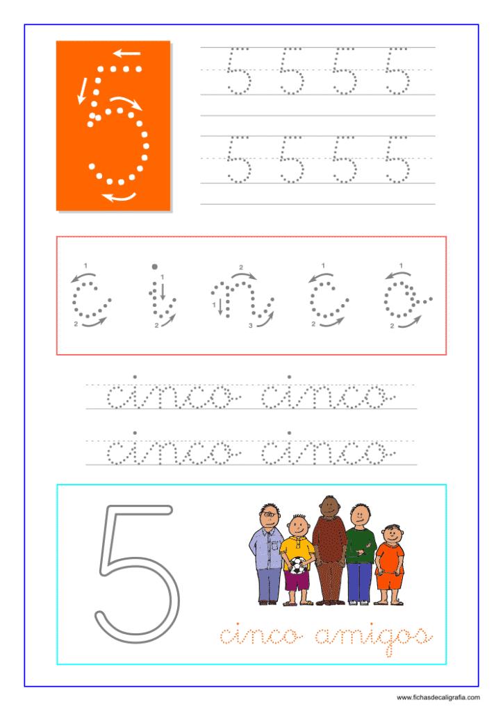 Los números. Hoja de caligrafía del número cinco