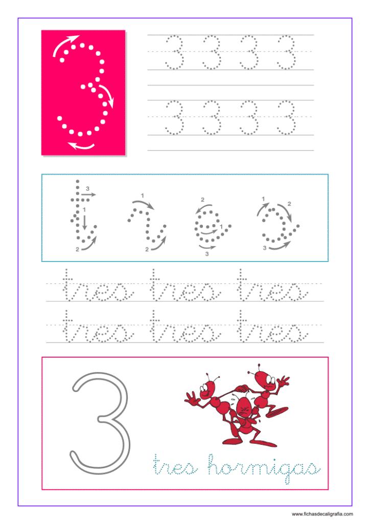 Hoja de caligrafía del número tres