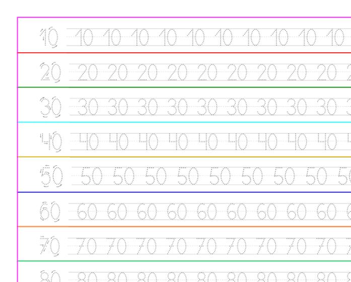 Ejercicio de caligrafía con números del 10 al 90, recursos educativos