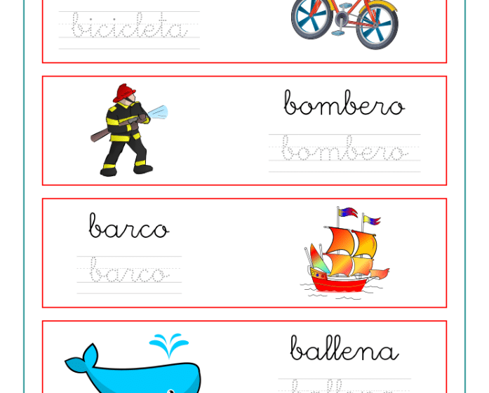 Ficha de caligrafía vocabulario letra B, recursos educativos