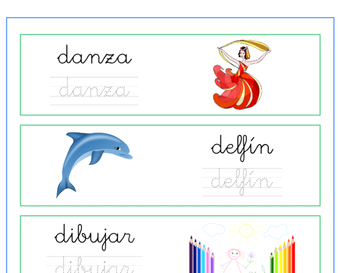 Ficha de caligrafía vocabulario letra d, recursos educativos