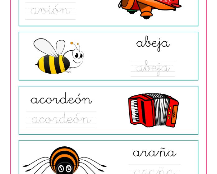 Ejercicio de caligrafía con palabras que comienzan con la vocal A, recursos educativos