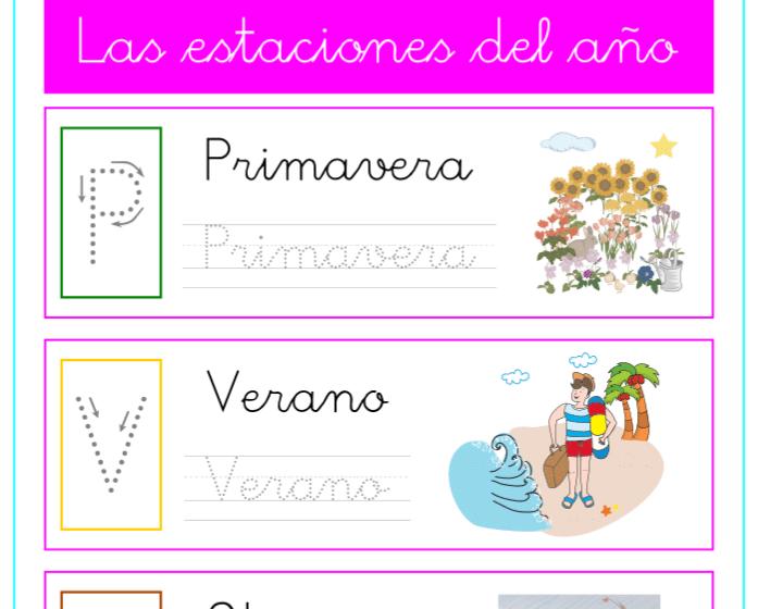 Caligrafía con palabras y dibujos de las estaciones del año, recursos educativos