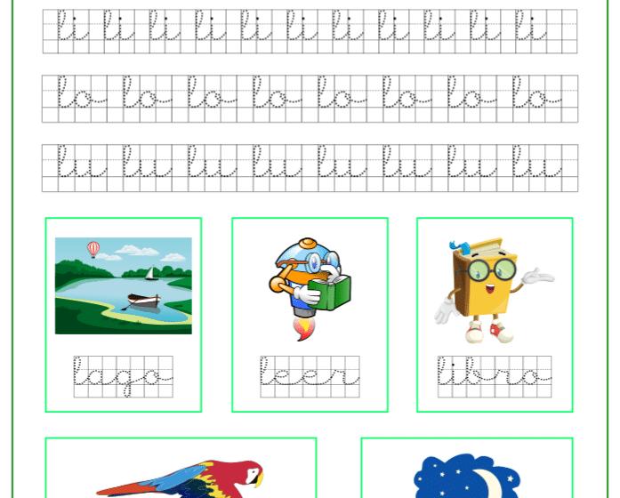 Ficha caligrafía en cuadricula con la letra l y las vocales, recursos educativos