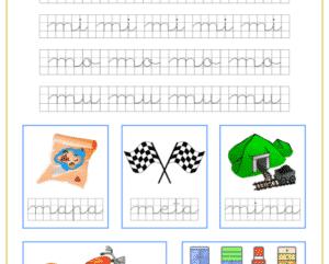 Ficha caligrafía en cuadricula con la letra m y las vocales, recursos educativos