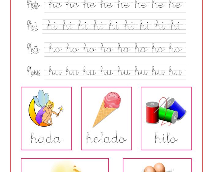 Ficha caligrafía letra h y vocales, recursos educativos