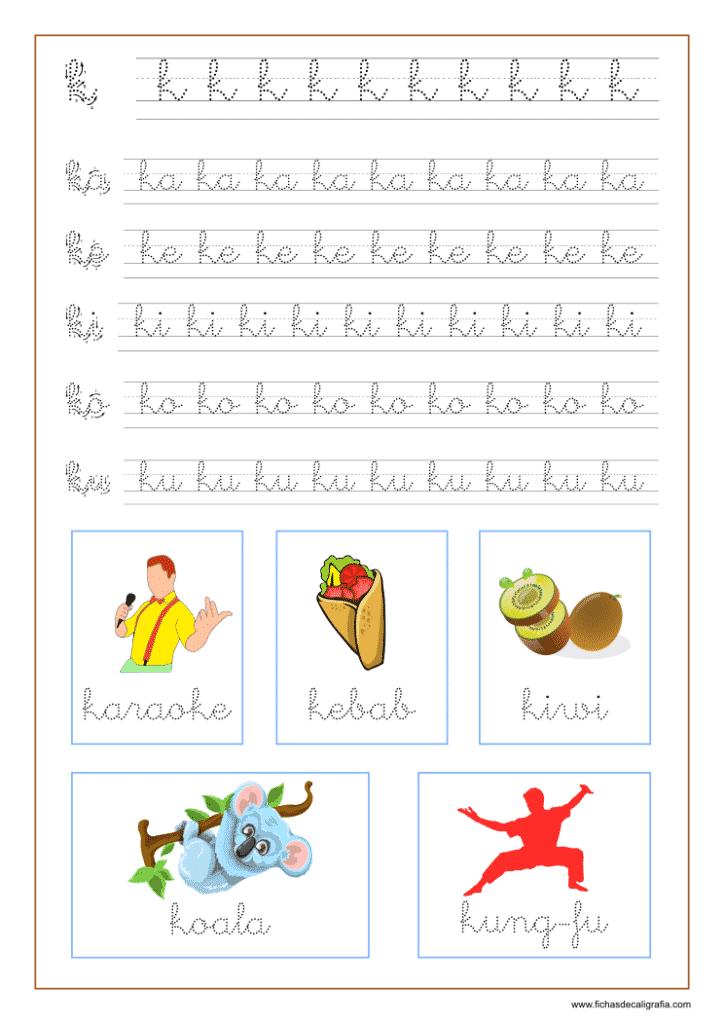 Ficha caligrafía letra k y vocales