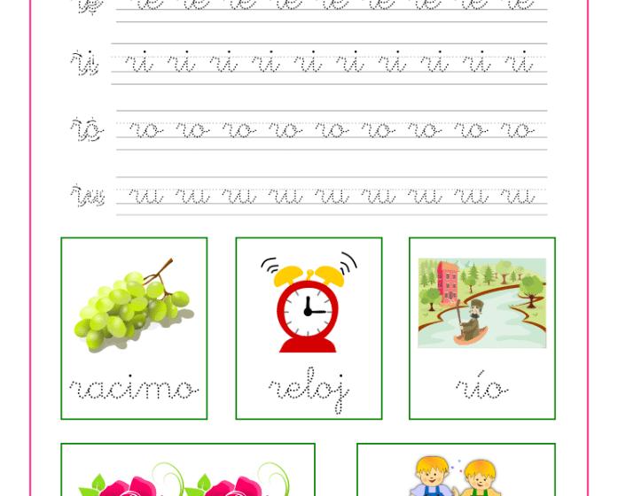 Ficha caligrafía letra r y vocales, recursos educativos