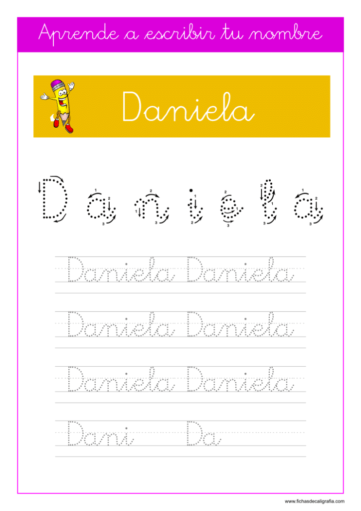 Caligrafía Daniela