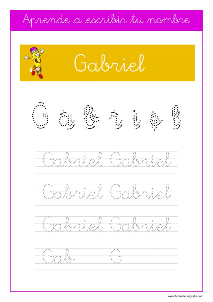 Caligrafía para aprender a escribir el nombre propio, Gabriel