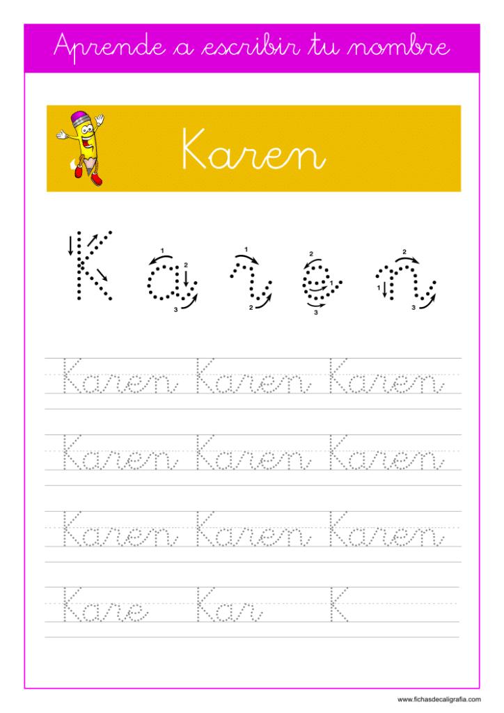 Caligrafía para aprender a escribir el nombre propio, Karen