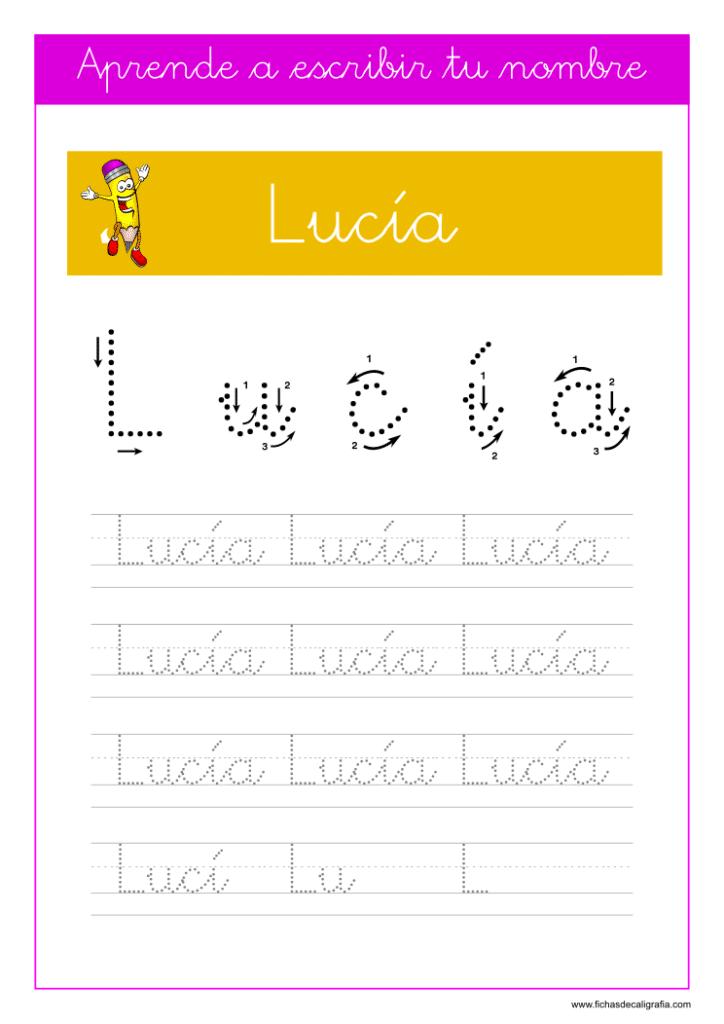 Caligrafía Lucía