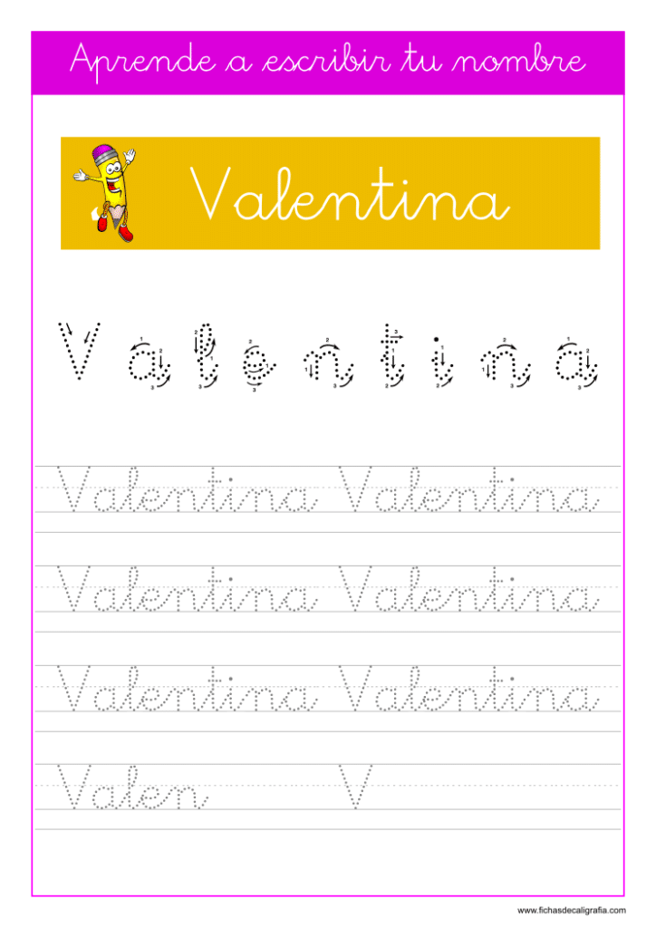 Caligrafía Valentina