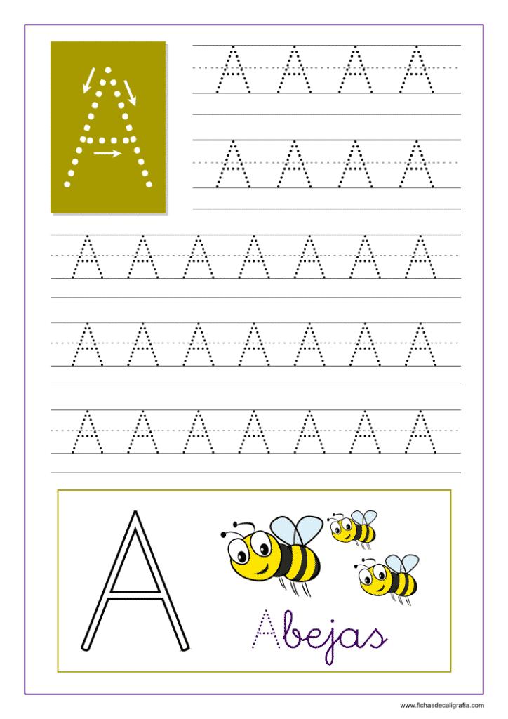 Aprender a escribir las letras del abecedario, letra A