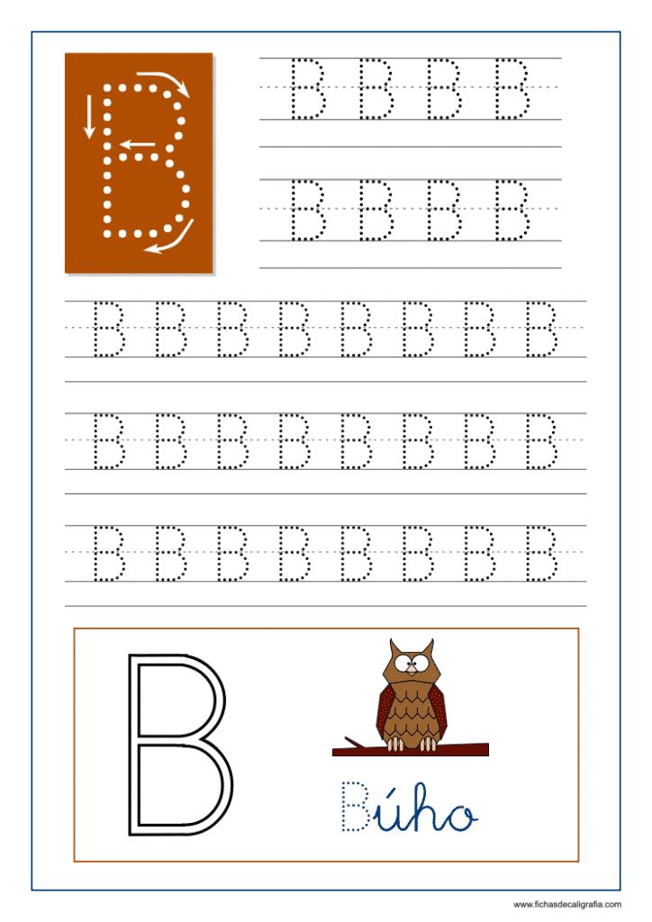 Ficha de caligrafía de la letra B del abecedario en mayúscula.