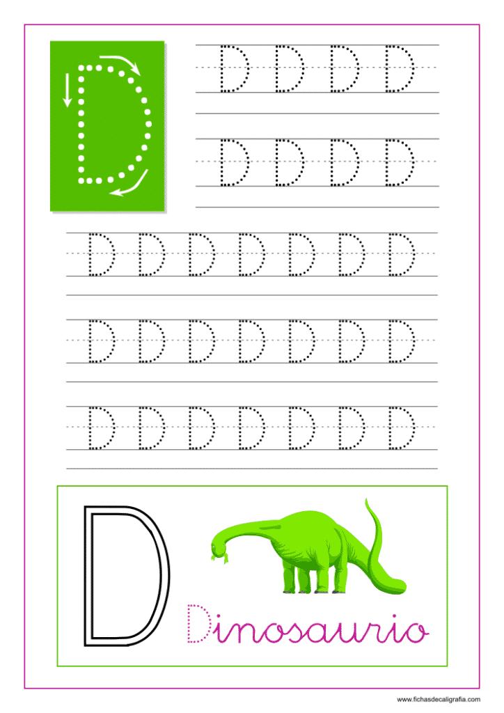 Ficha de caligrafía de la letra D del abecedario en mayúscula.