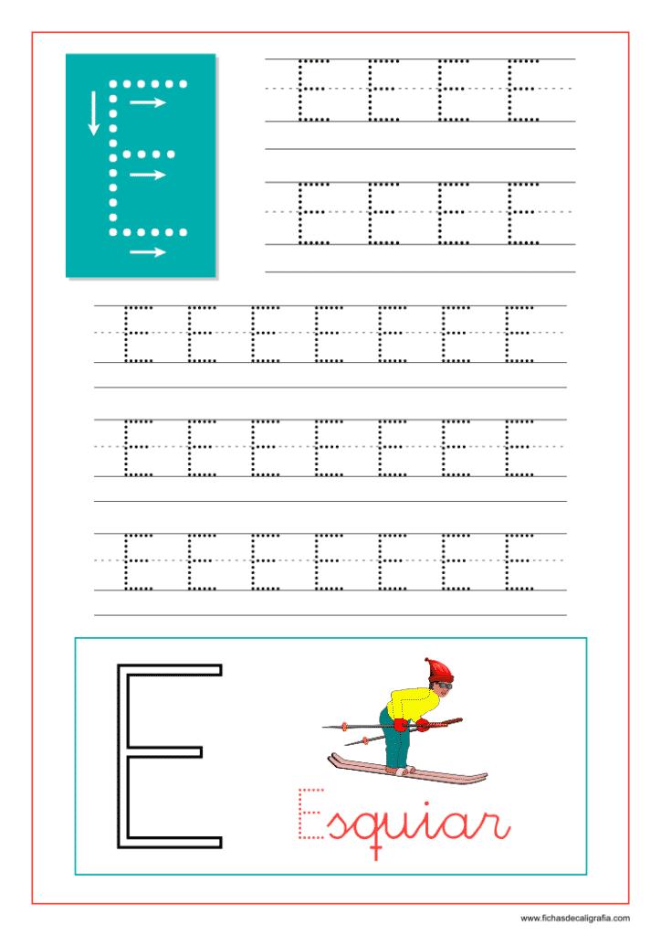 Aprender a escribir las letras del abecedario, letra E