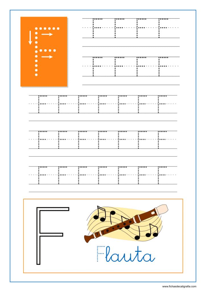 Aprender a escribir las letras del abecedario, letra F