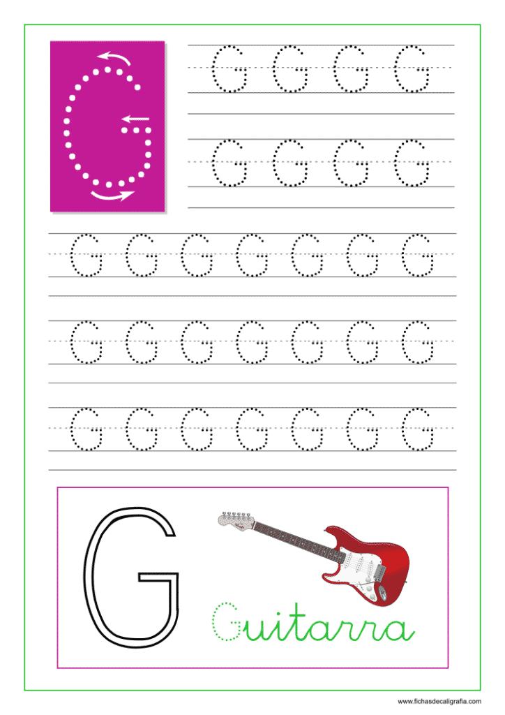Ficha de caligrafía de la letra G del abecedario en mayúscula.