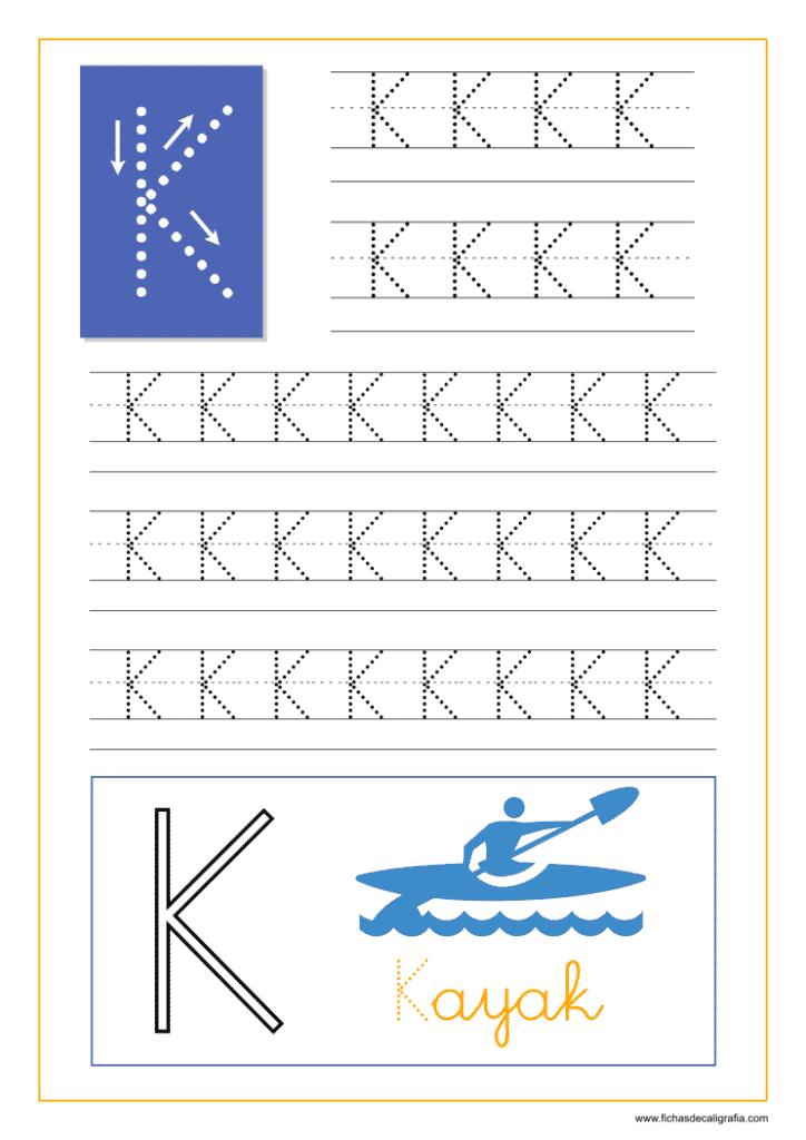 Aprender a escribir las letras del abecedario, letra K