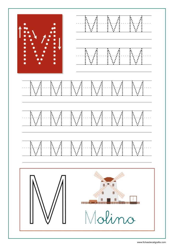 Ficha de caligrafía de la letra M del abecedario en mayúscula.