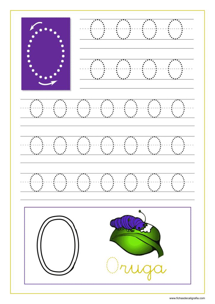Ficha de caligrafía de la letra O del abecedario en mayúscula.