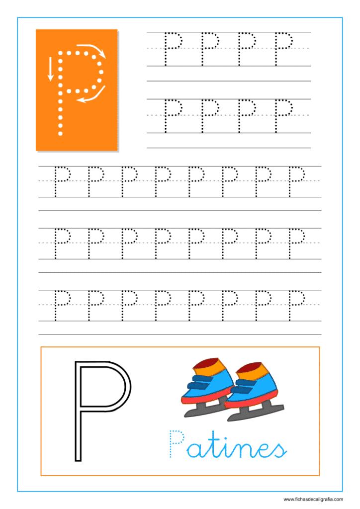 Aprender a escribir las letras del abecedario, letra P