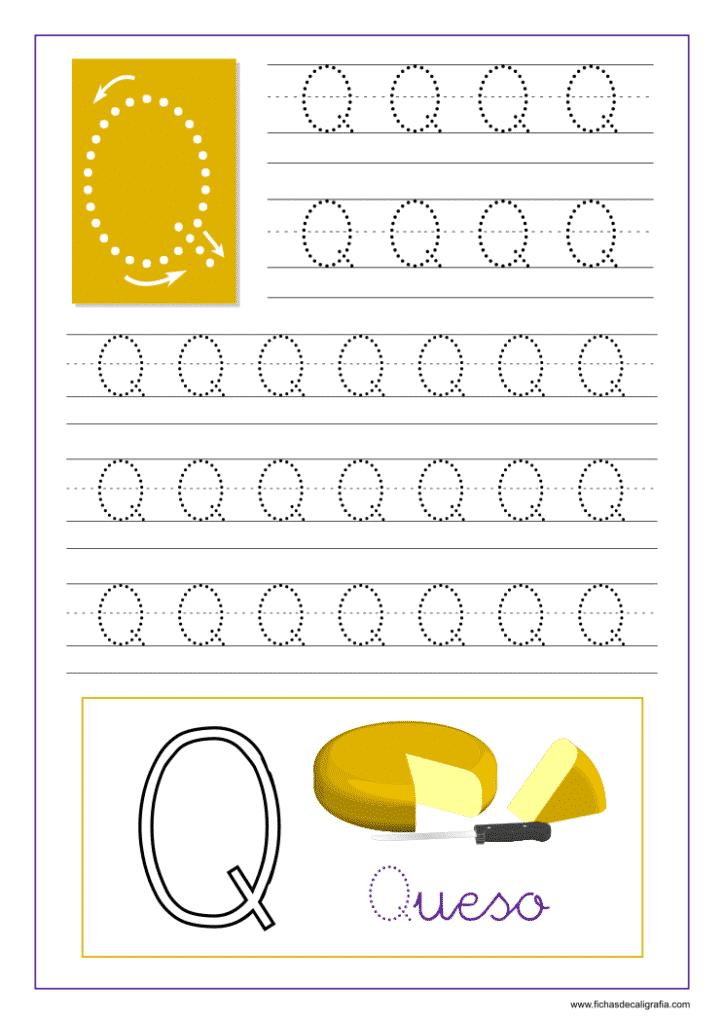 Ficha de caligrafía de la letra Q del abecedario en mayúscula.