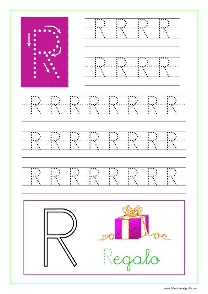 Aprender a escribir las letras del abecedario, letra R