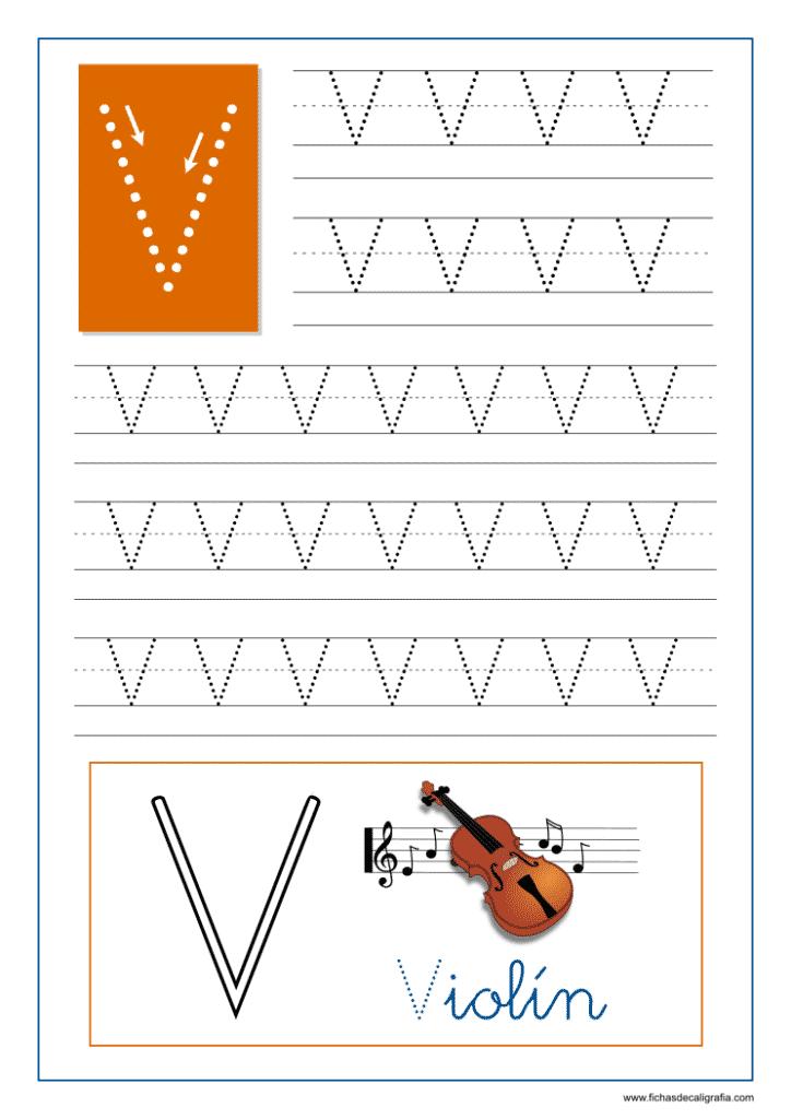 Ficha de caligrafía de la letra V del abecedario en mayúscula.