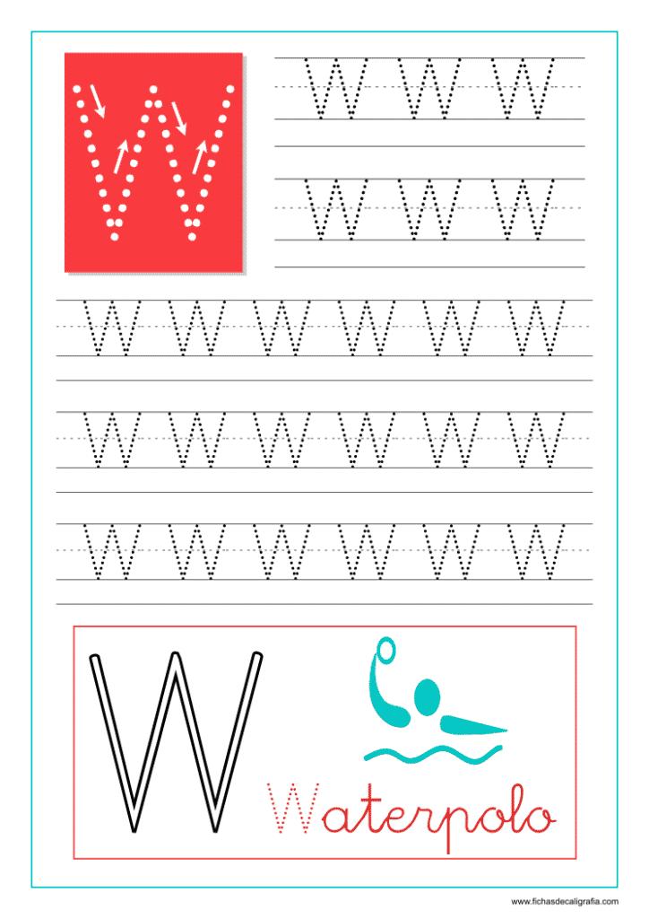 Aprender a escribir las letras del abecedario, letra W