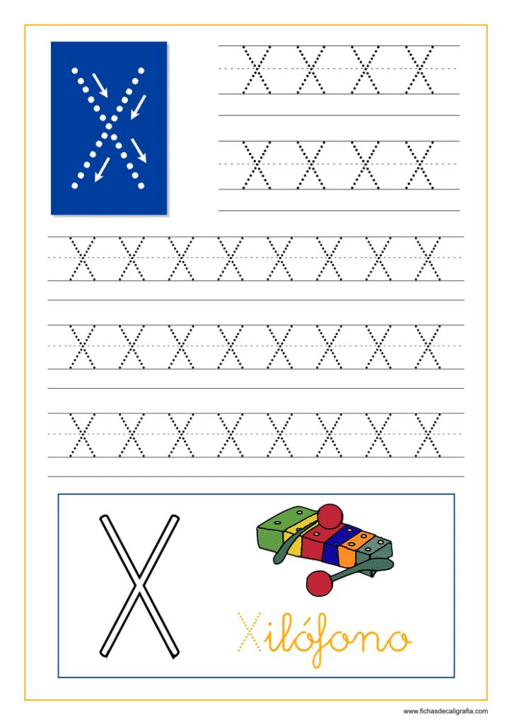 Ficha de caligrafía de la letra X del abecedario en mayúscula.