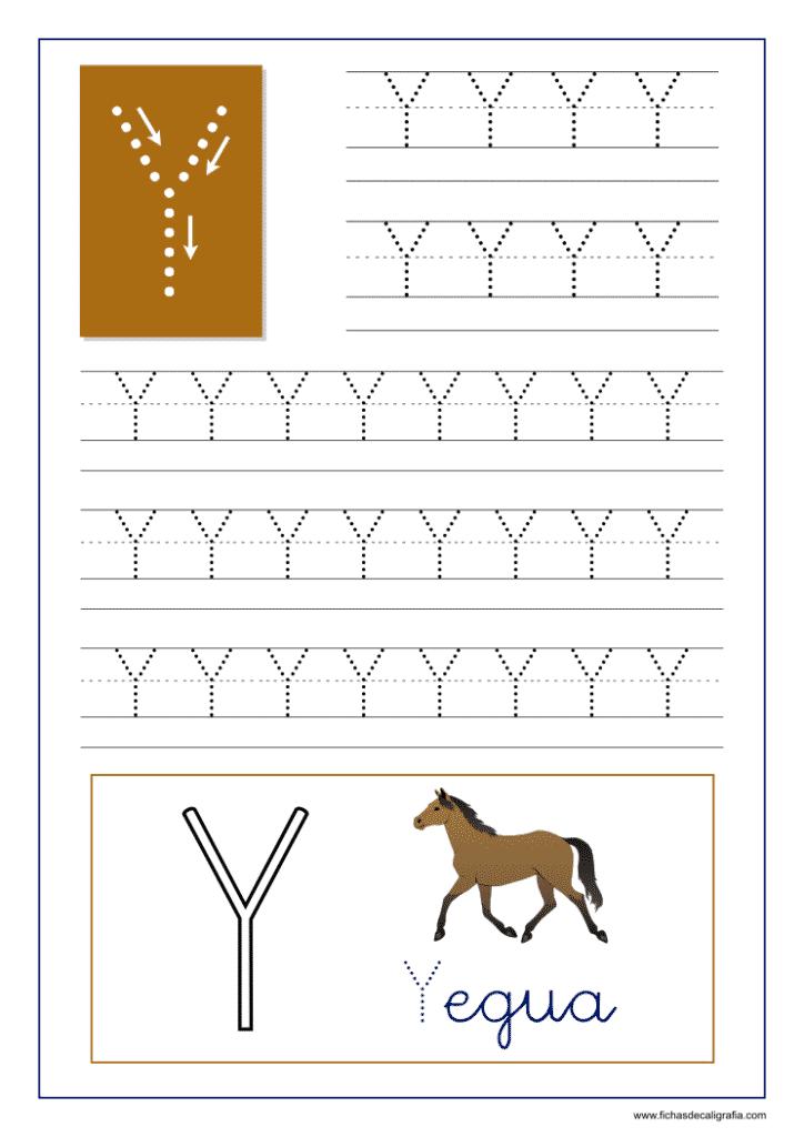 Aprender a escribir las letras del abecedario, letra Y