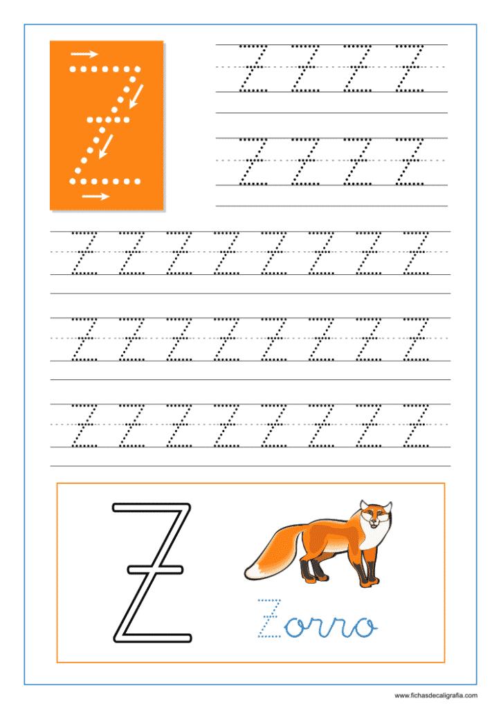 Ficha de caligrafía de la letra Z del abecedario en mayúscula.