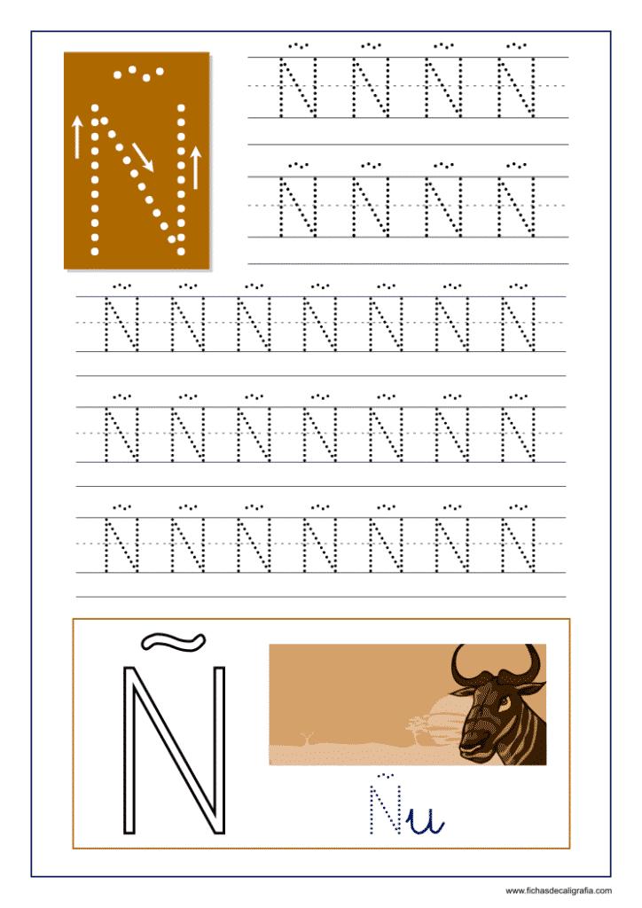 Ficha de caligrafía de la letra Ñ del abecedario en mayúscula.