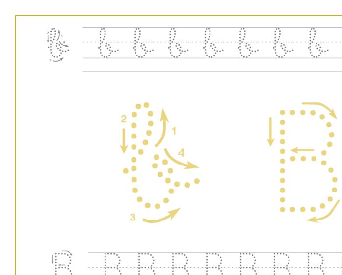Ficha de caligrafía de la letra B, recursos educativos