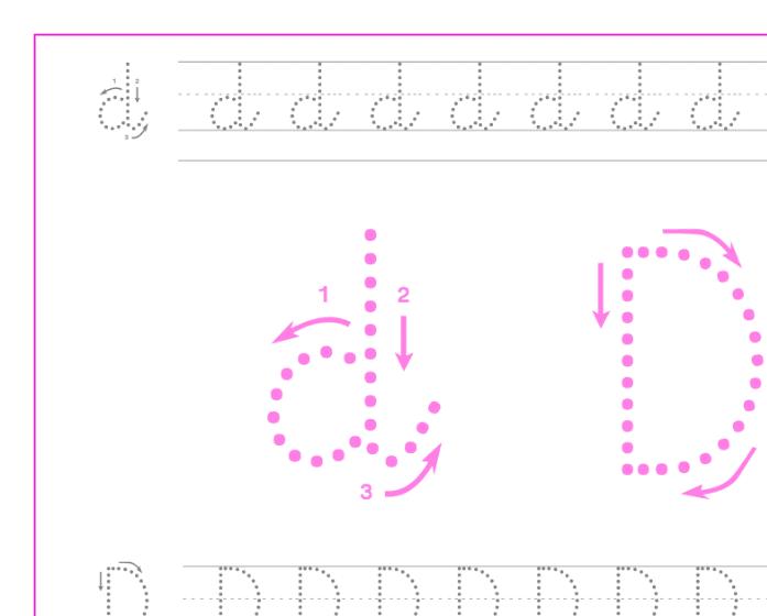 Ficha de caligrafía de la letra D, recursos educativos