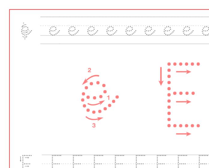 Ficha de caligrafía de la vocal E, recursos educativos