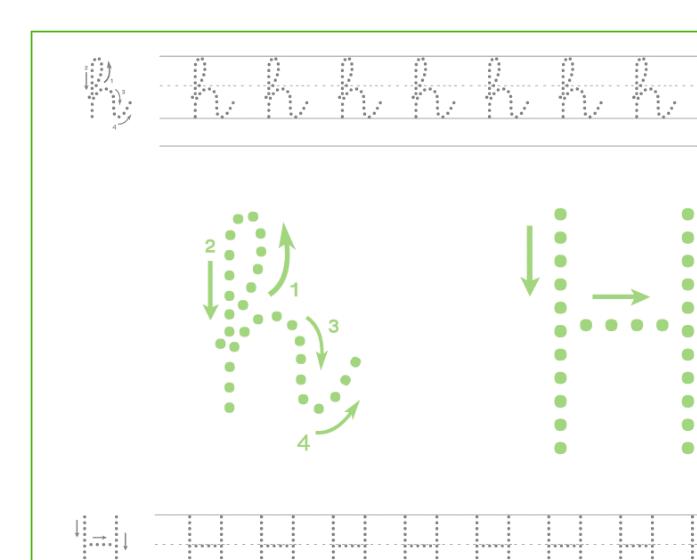 Ficha de caligrafía de la letra H, recursos educativos