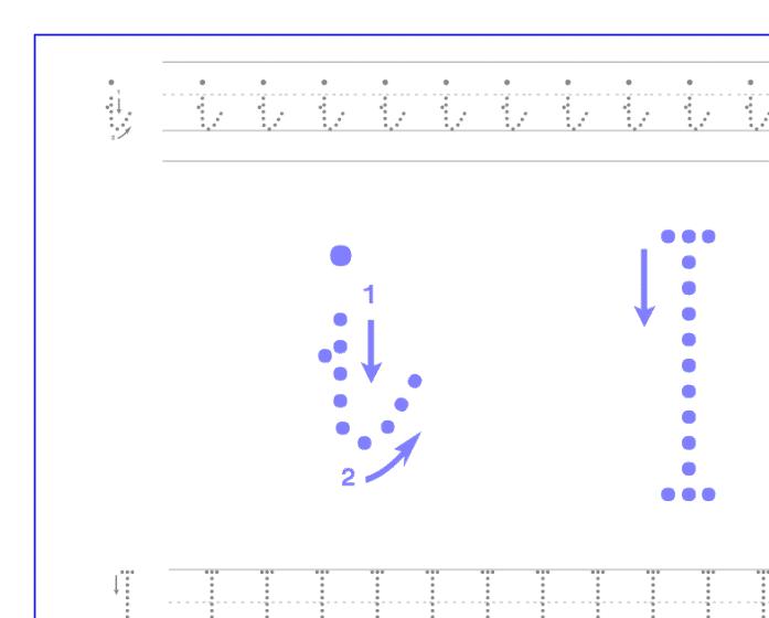 Ficha de caligrafía de la vocal I, recursos educativos