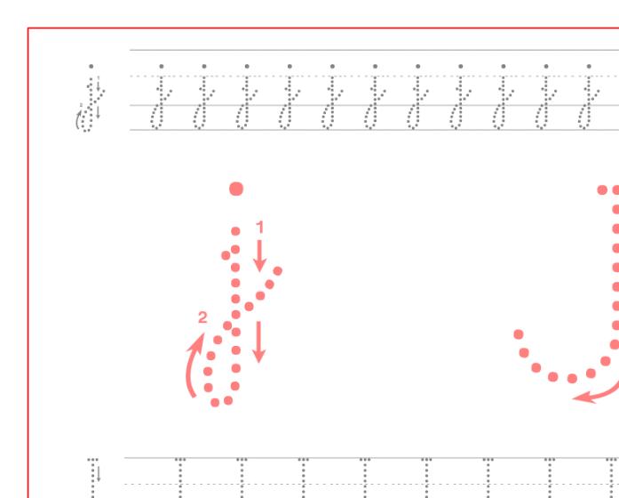 Ficha de caligrafía de la letra J, recursos educativos