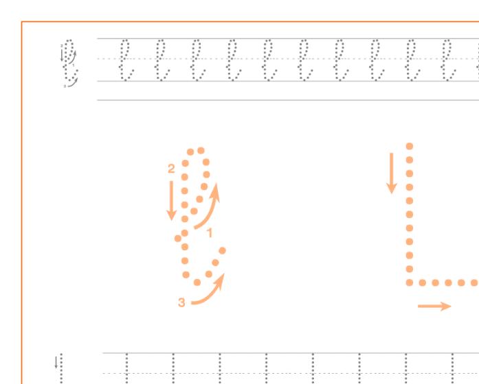 Ficha de caligrafía de la letra L, recursos educativos