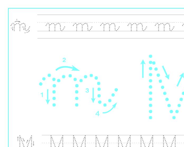 Ficha de caligrafía de la letra M, recursos educativos