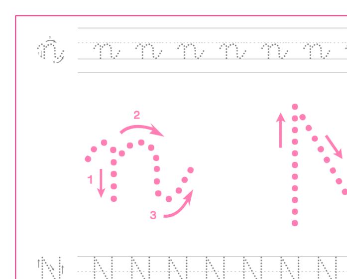 Ficha de caligrafía de la letra N, recursos educativos