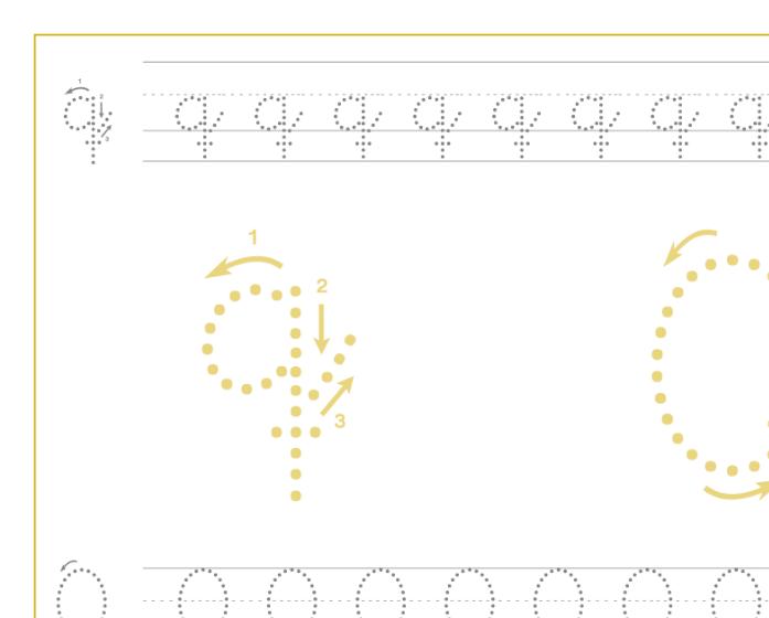 Ficha de caligrafía de la letra Q, recursos educativos