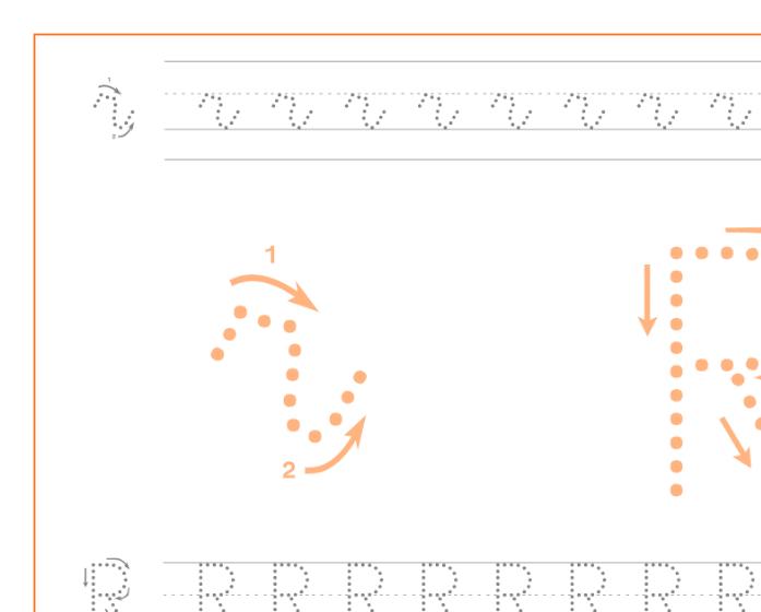 Ficha de caligrafía de la letra R, recursos educativos