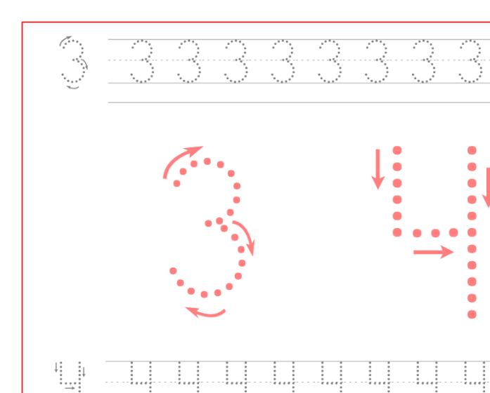 Ficha de caligrafía de los numeros 3 y 4, recursos educativos