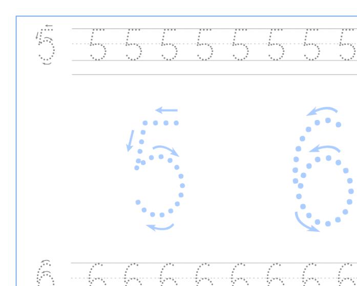 Ficha de caligrafía de los numeros 5 y 6, recursos educativos